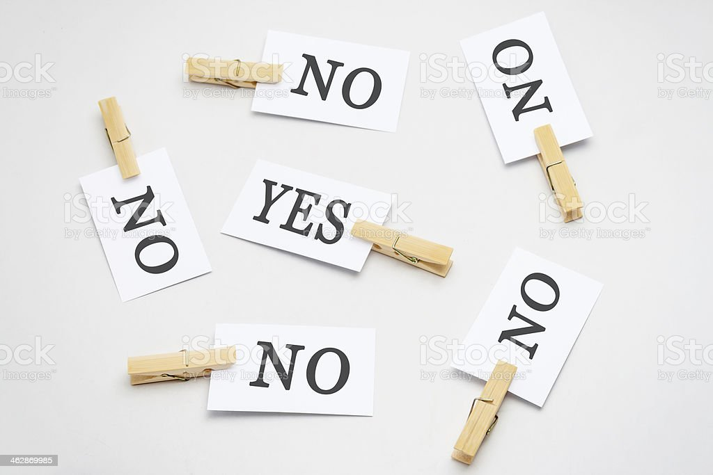 White businsee card print'NO' and 'YES' royalty-free stock photo