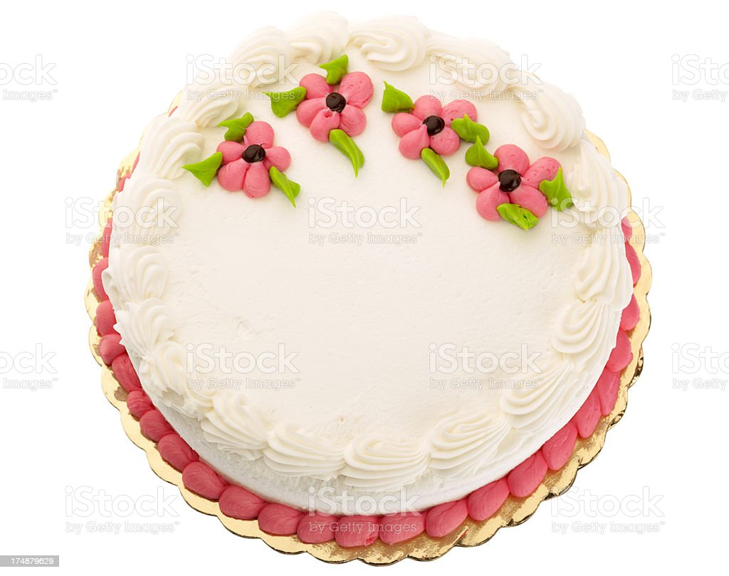 White butter cream frosted cake decorated with pink flowers stock white butter cream frosted cake decorated with pink flowers royalty free stock photo izmirmasajfo Choice Image