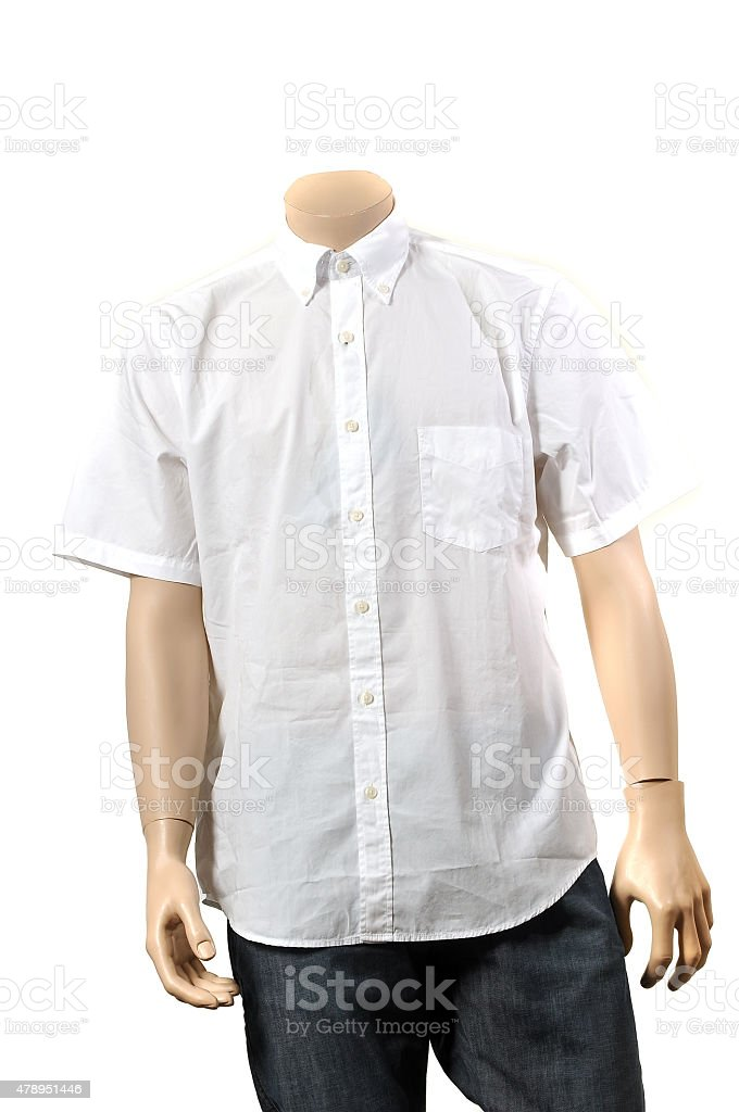White button down shirt with short sleeves stock photo