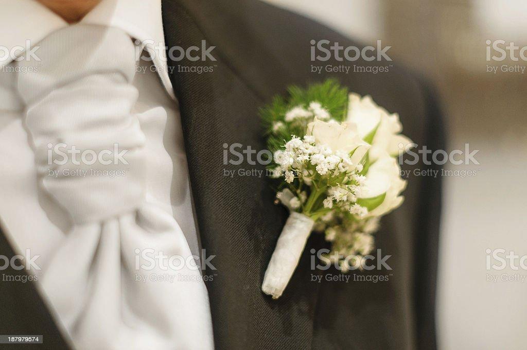 white buttonhole stock photo