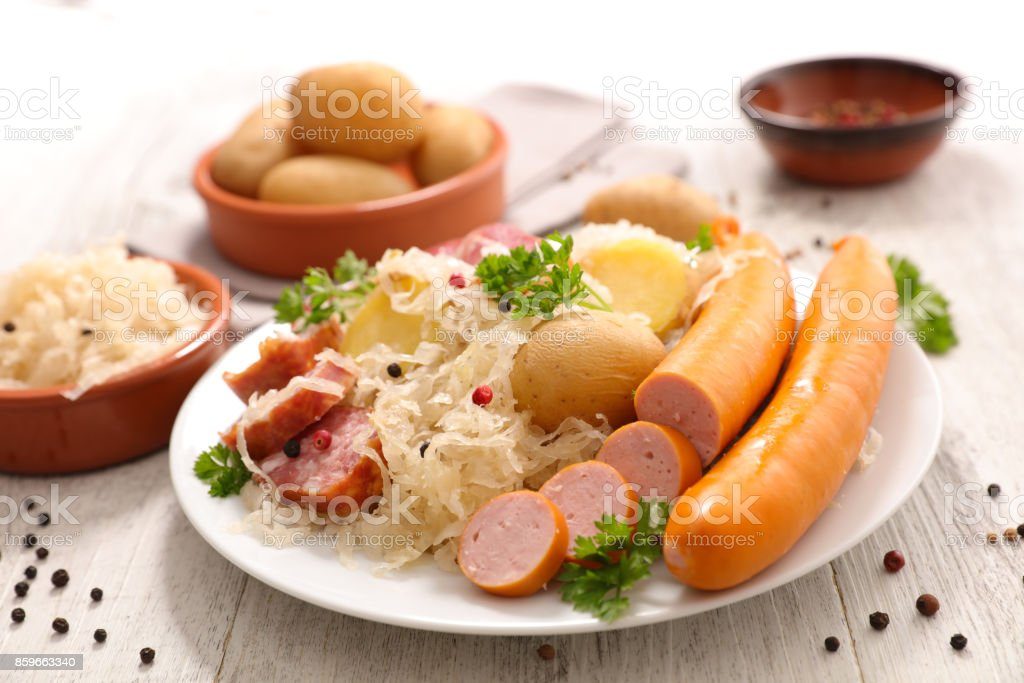 white cabbage with meat and potato stock photo