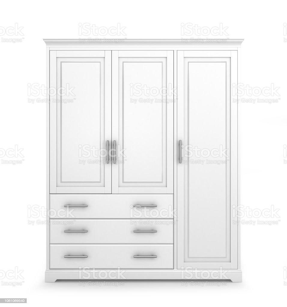 White Cabinet Isolated On White Background 3d Illustration