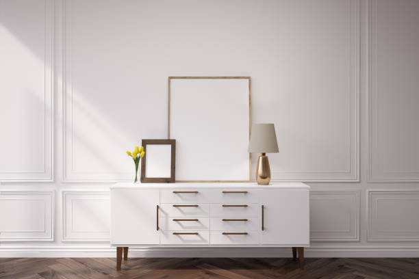 White cabinet with a lamp stock photo