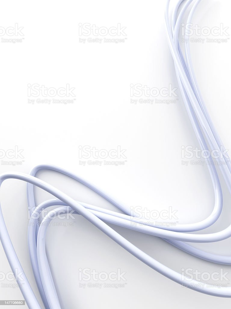 White cables isolated on a white background stock photo