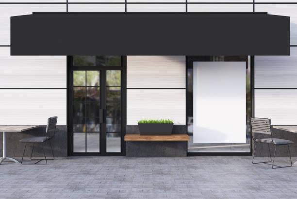 café branco exterior com um cartaz em branco - facade shop 3d - fotografias e filmes do acervo