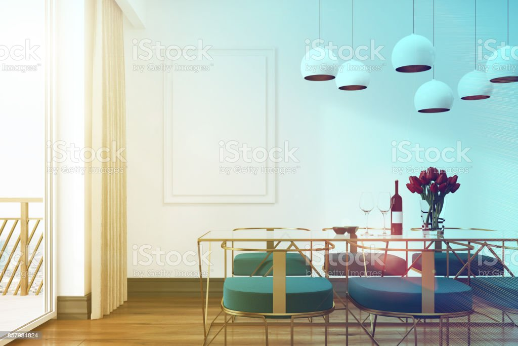 Remarkable White Cafe Interior Blue Chairs Toned Stock Photo Download Alphanode Cool Chair Designs And Ideas Alphanodeonline