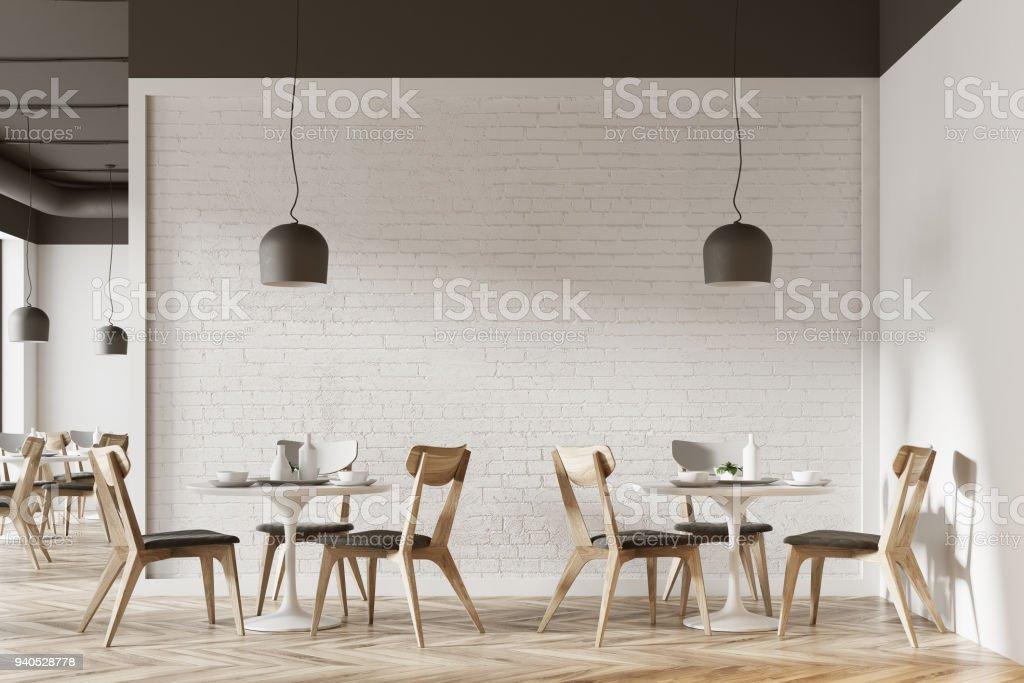 White cafe interior stock photo