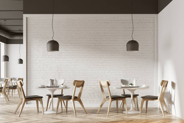 White cafe interior White cafe interior with a wooden floor, round white tables and gray and wooden chairs. 3d rendering mock up cafe stock pictures, royalty-free photos & images