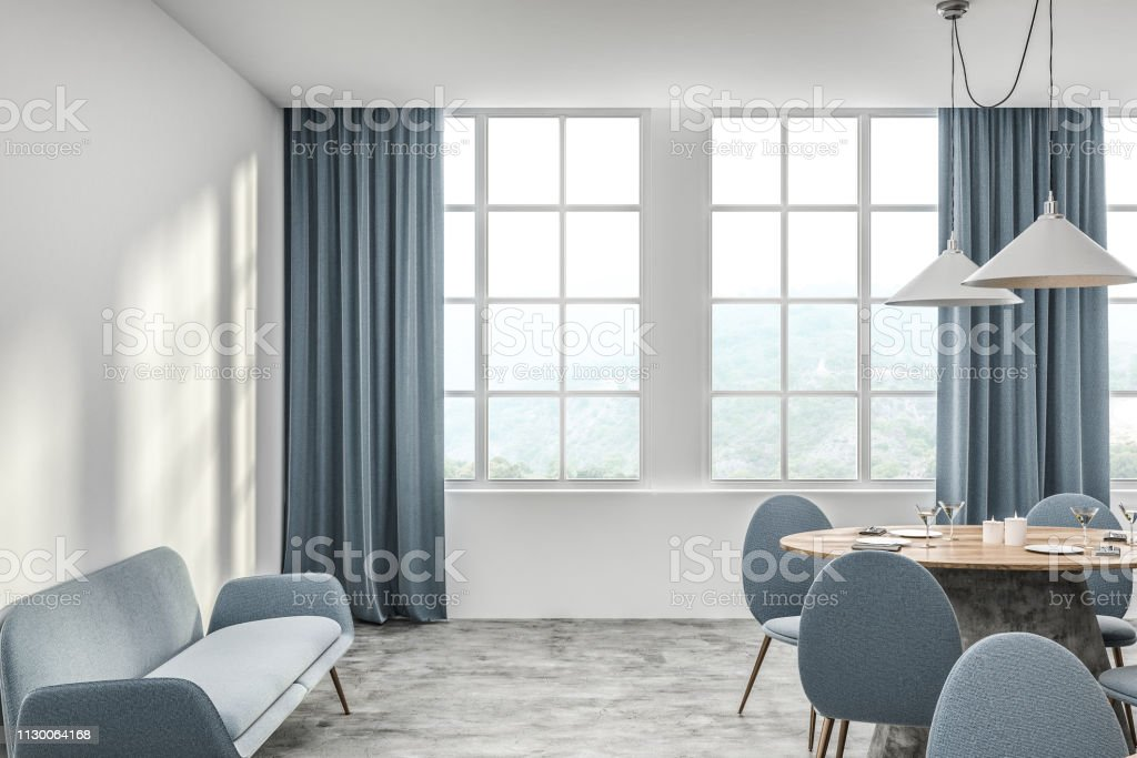 Terrific White Cafe Interior With Blue Sofa Stock Photo Download Alphanode Cool Chair Designs And Ideas Alphanodeonline