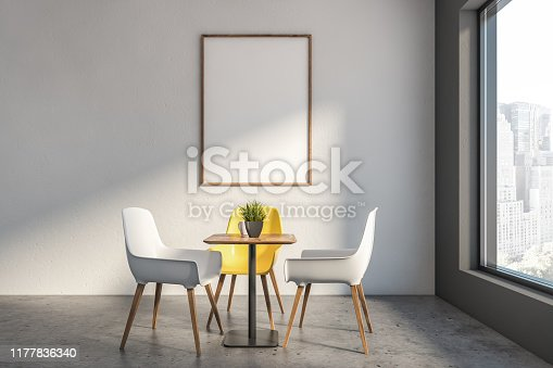 Interior of minimalistic cafe in hotel or business center with white walls, stone floor, square table with white and yellow chairs and vertical mock up poster frame. 3d rendering