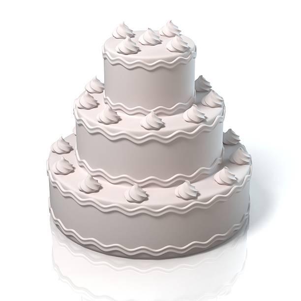 white cake 3d illustration stock photo