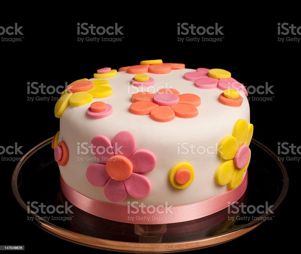 White Cake With Fondant Flowers And Ribbon Border Stock Photo Istock