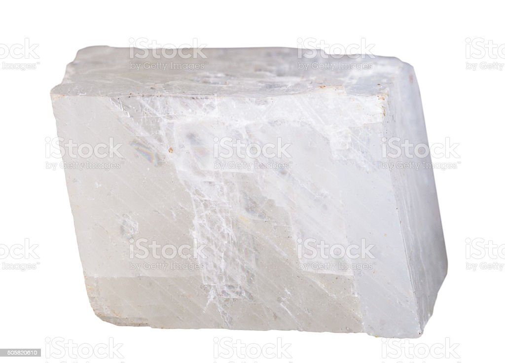 white calcite mineral stone isolated stock photo
