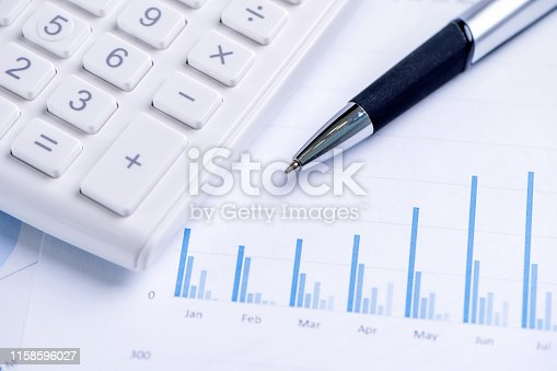 851244800istockphoto White calculator and report with chart and graph, concept of annual financial profit overview, banking and investment, copy space, macro, close up 1158596027