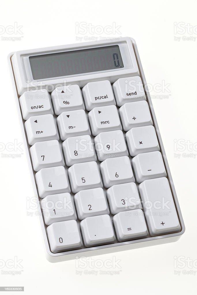 White calculator studio shot stock photo