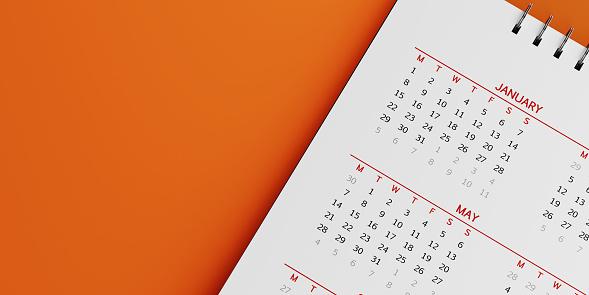 White Calendar On Orange Background