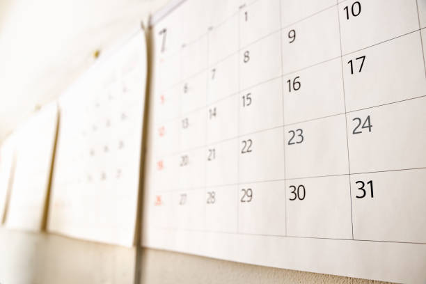 White calendar with nothing written stock photo