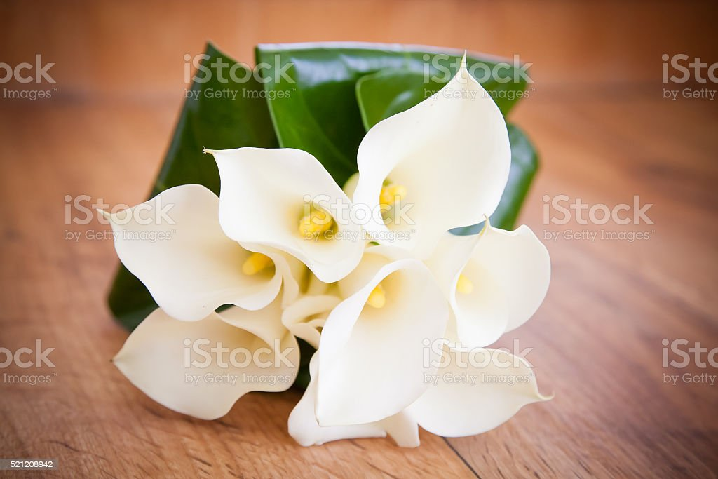 White Calla Lily Wedding Flower Bouquet Stock Photo & More Pictures ...