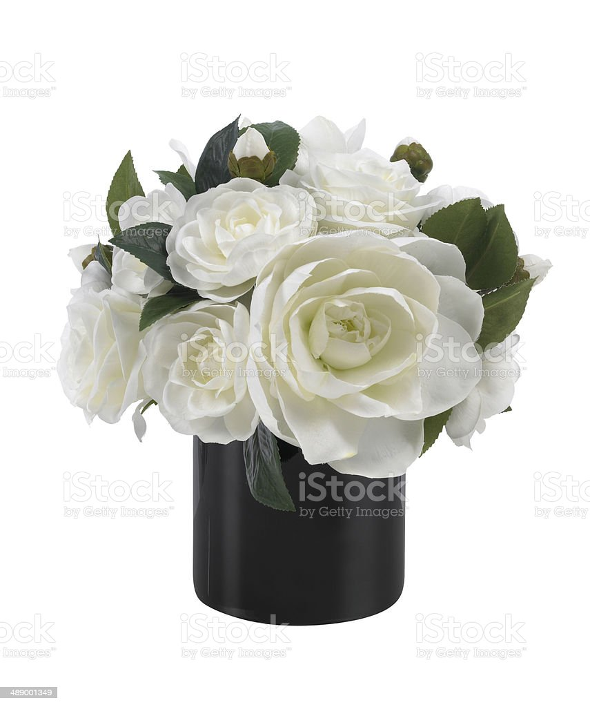 Top White Camellia And Amaryllus Bouquet In Black Vase On White  ZQ57