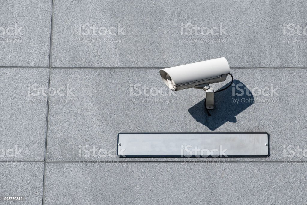 White camera security (CCTV) setting with blank plate stock photo
