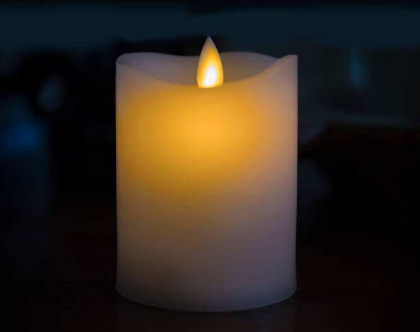 White Candle Closeup. stock photo