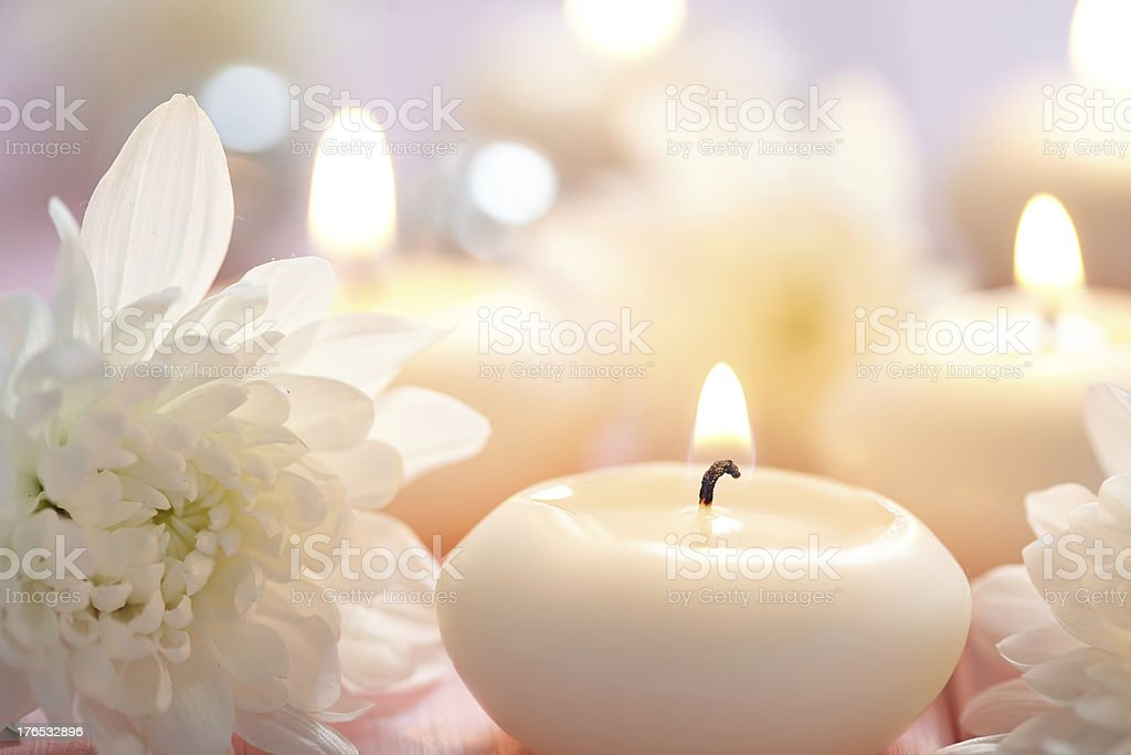White Candle Light stock photo