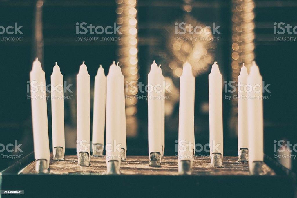 White candles, church, monastery, background stock photo