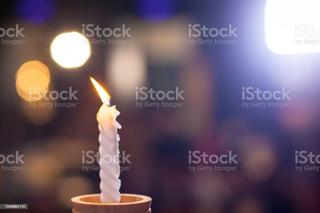 White Candlestick With Blur Bokeh Background Image For