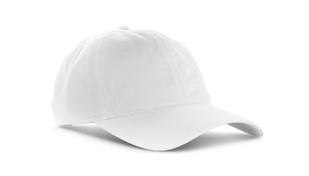 white canvas fabric cap isolated on white background white canvas fabric cap for premium gift design mock-up isolated on white background with clipping path baseball cap stock pictures, royalty-free photos & images