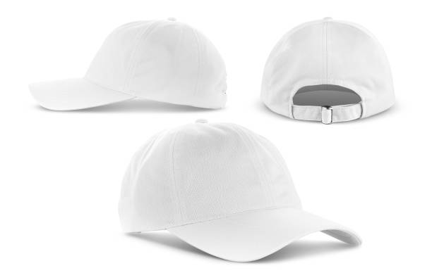 white canvas fabric cap isolated on white background - czapka zdjęcia i obrazy z banku zdjęć