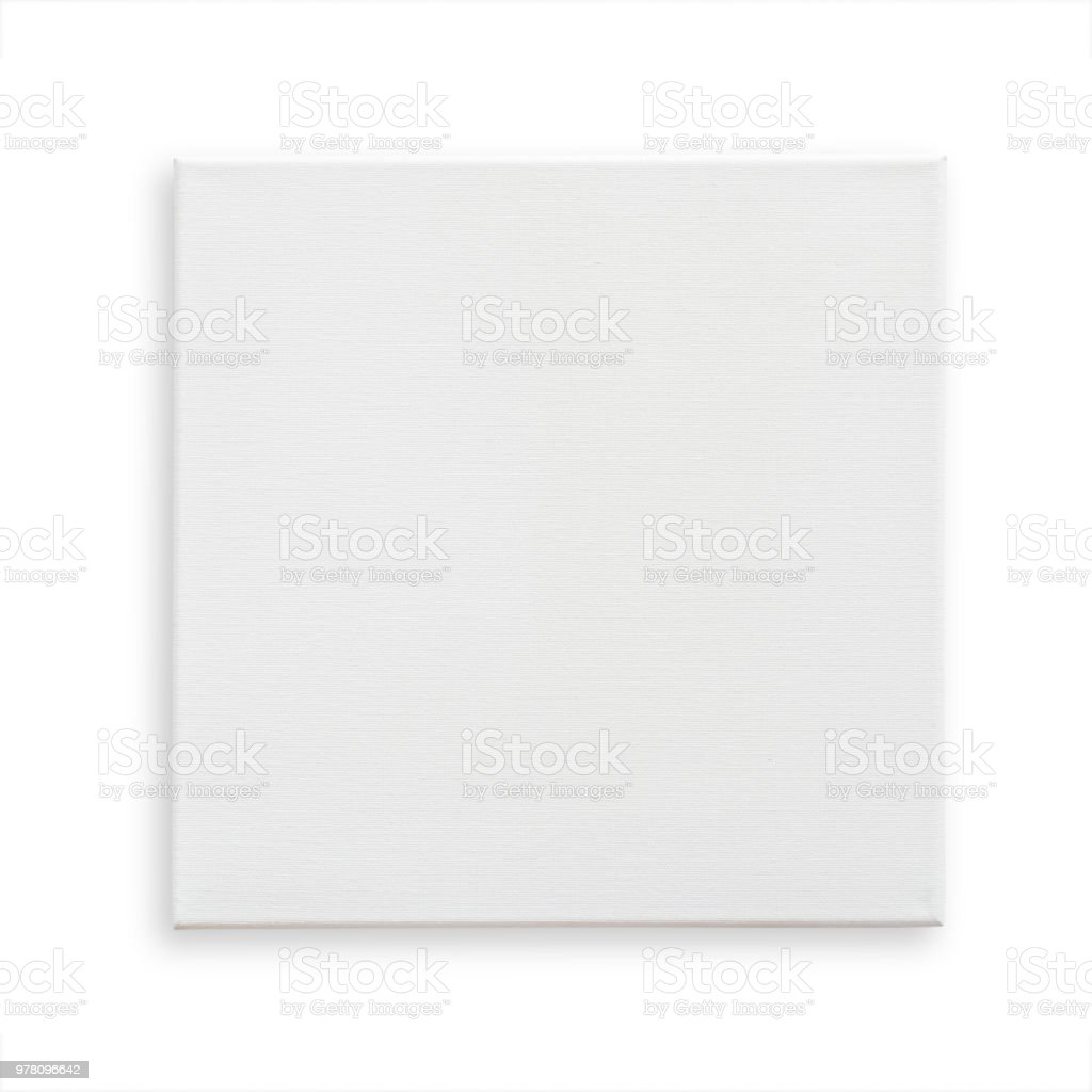 White canvas frame mock up template square size isolated on white background with clipping path for arts painting and photo hanging interior decoration stock photo
