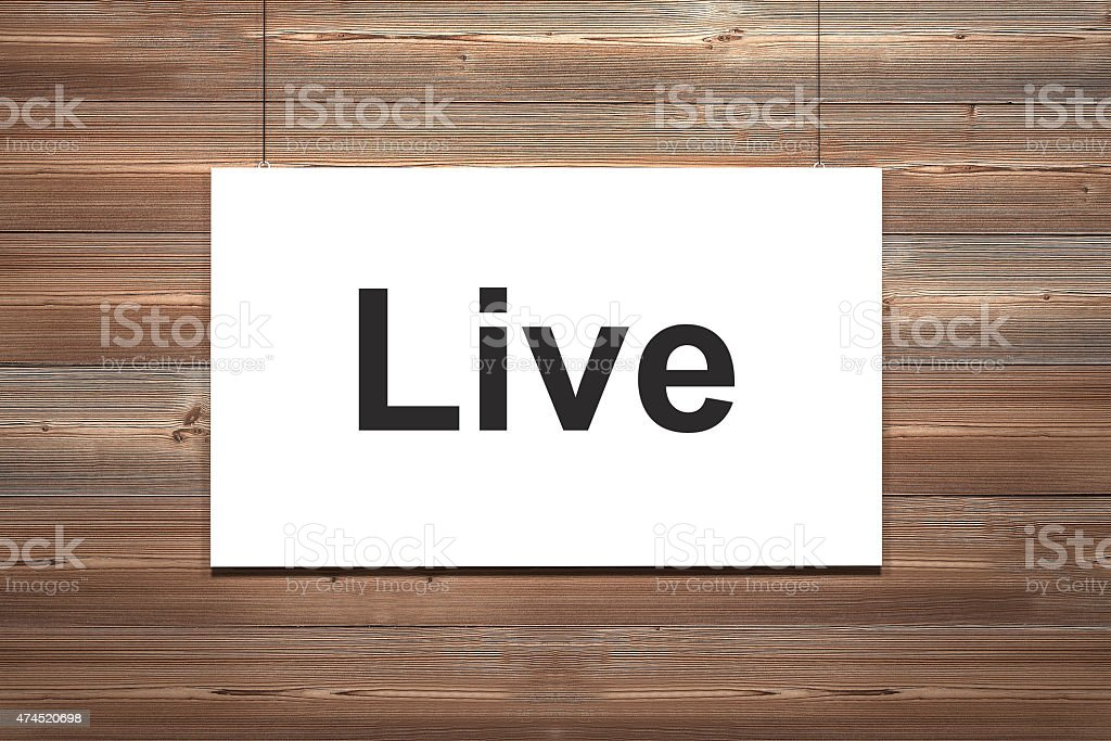 white canvas on wooden wall live stock photo