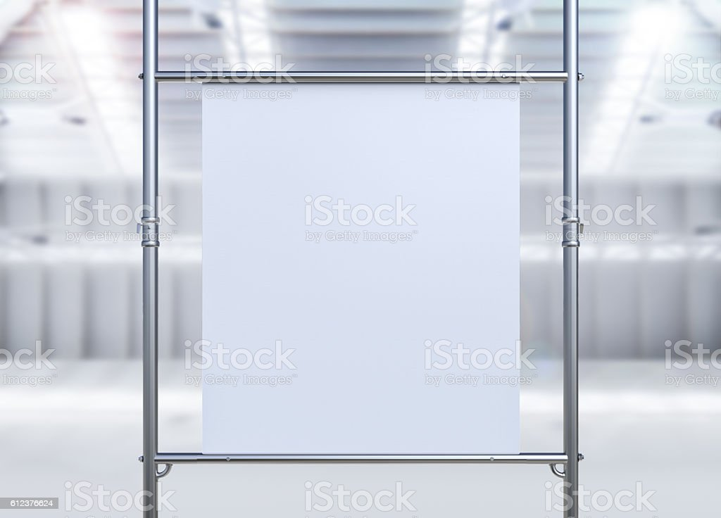 white canvas stretch on metal pipe stock photo