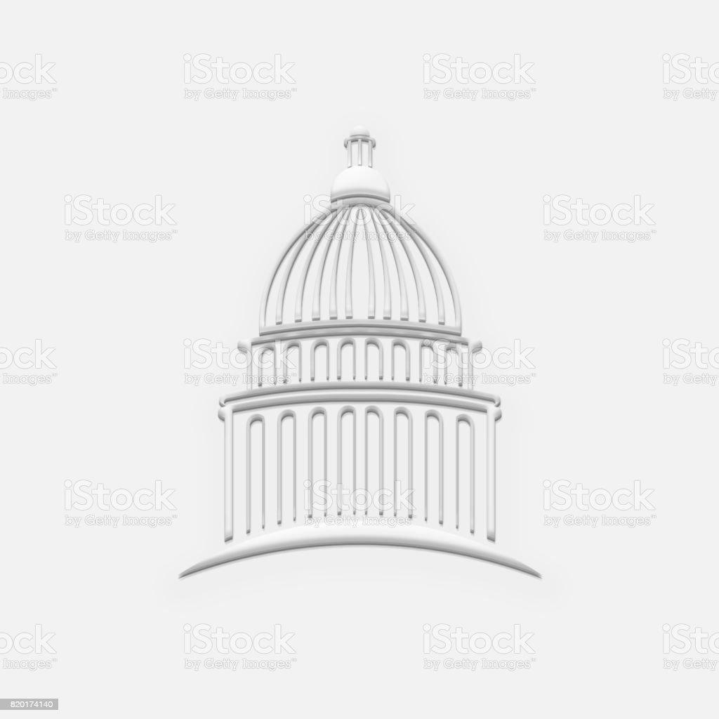 White Capitol Building. 3D Render Illustration stock photo