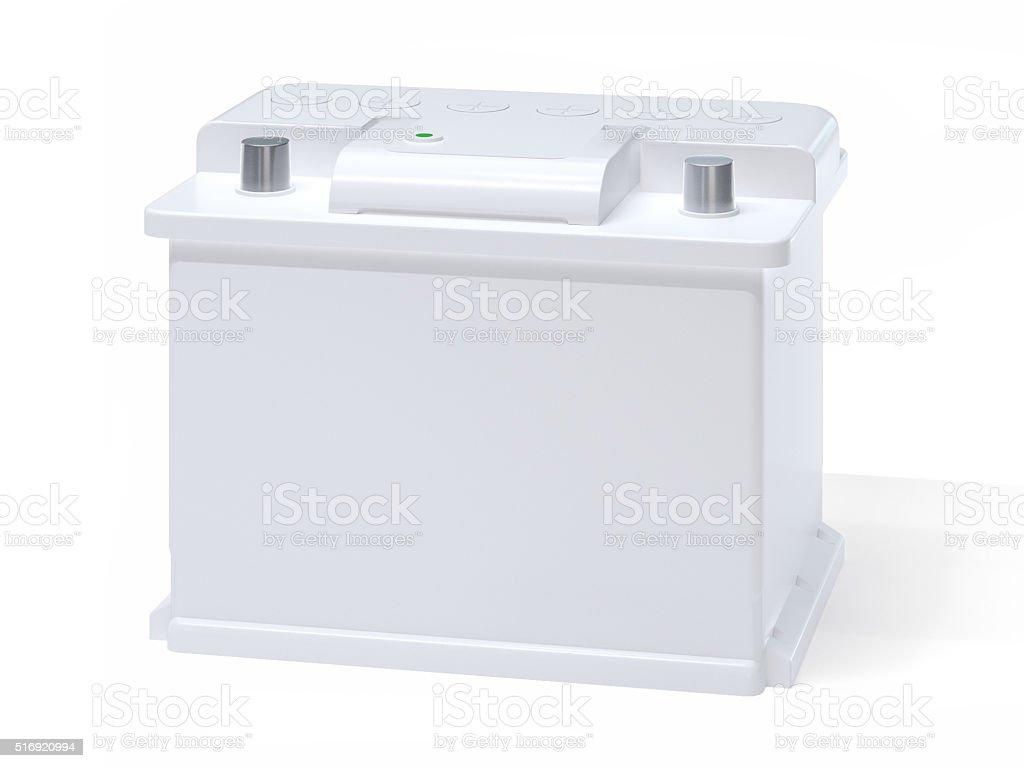 White car battery stock photo