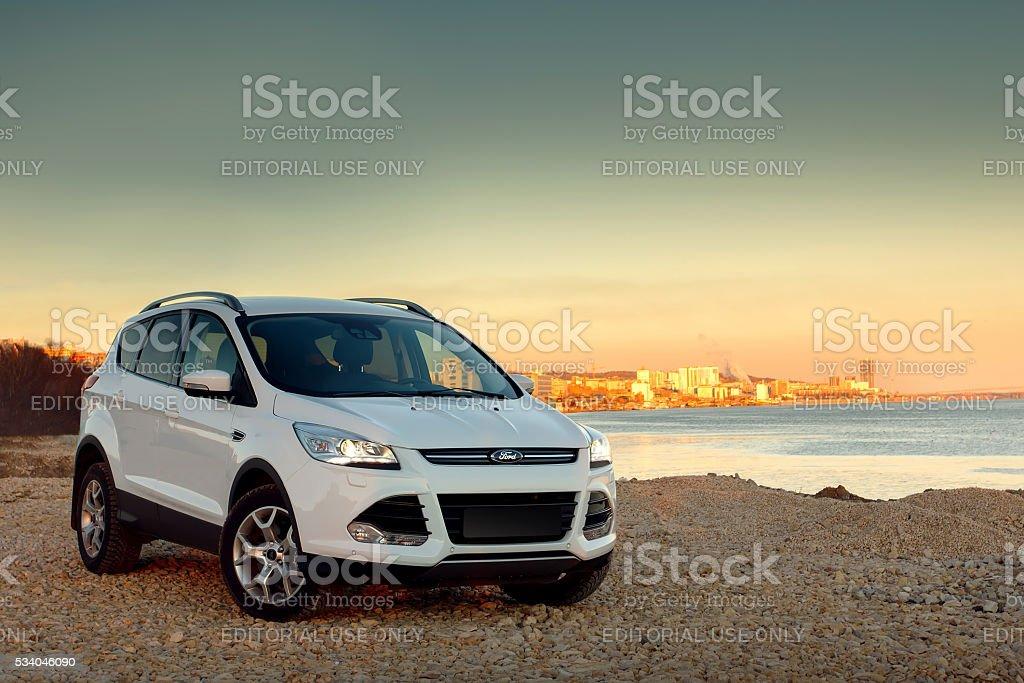 White car Ford Kuga stock photo