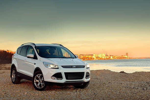 White car Ford Kuga stock photo