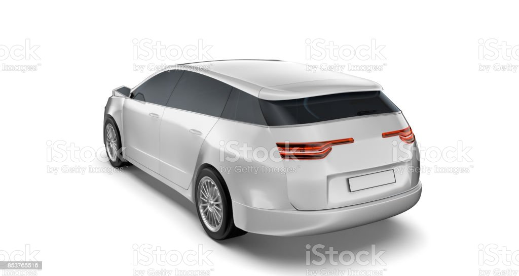 White car isolated on the background stock photo