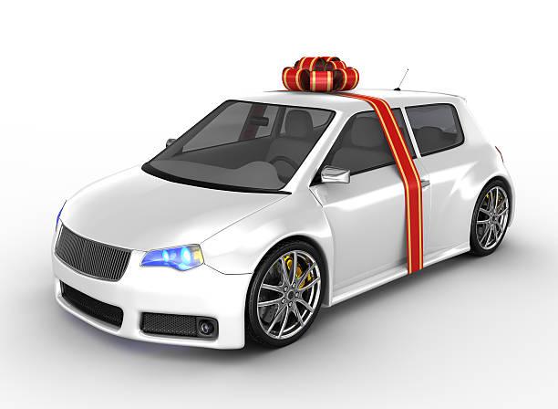 weiße auto mit band - autoschleifen stock-fotos und bilder