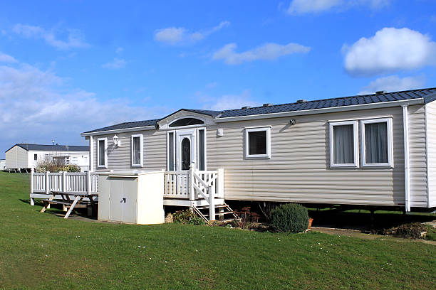 White caravans in a park White caravans in a modern trailer park, Scarborough, England. manufactured housing stock pictures, royalty-free photos & images