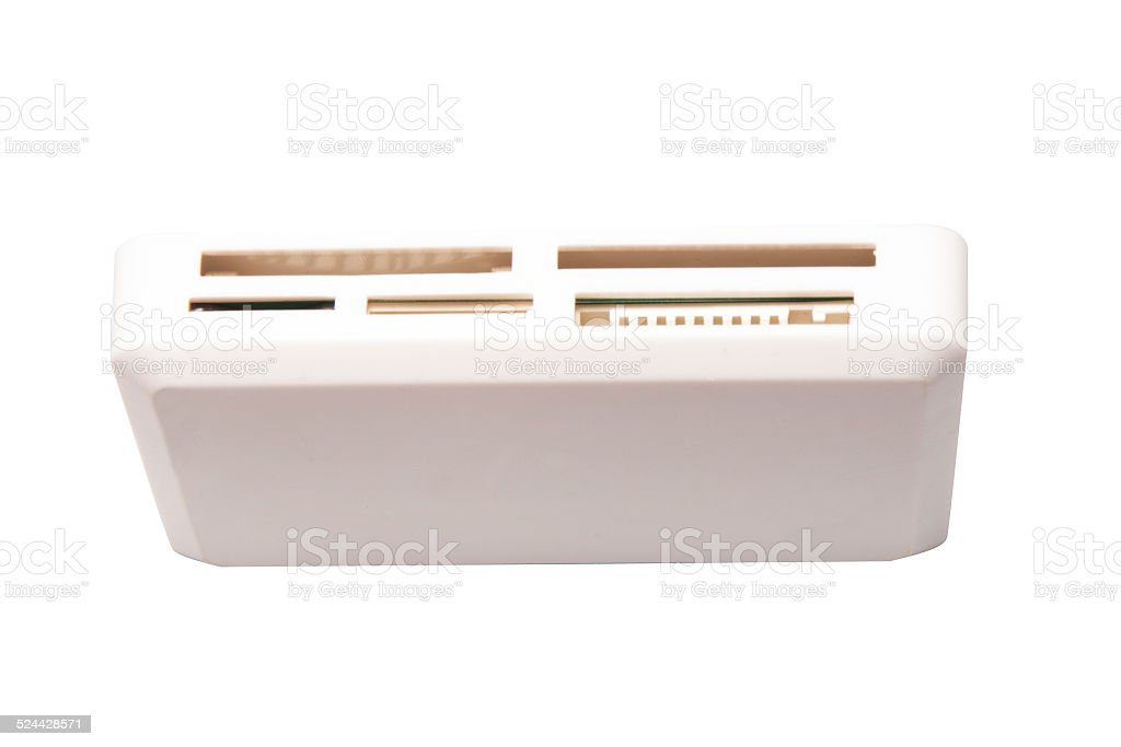 White card reader, front view stock photo