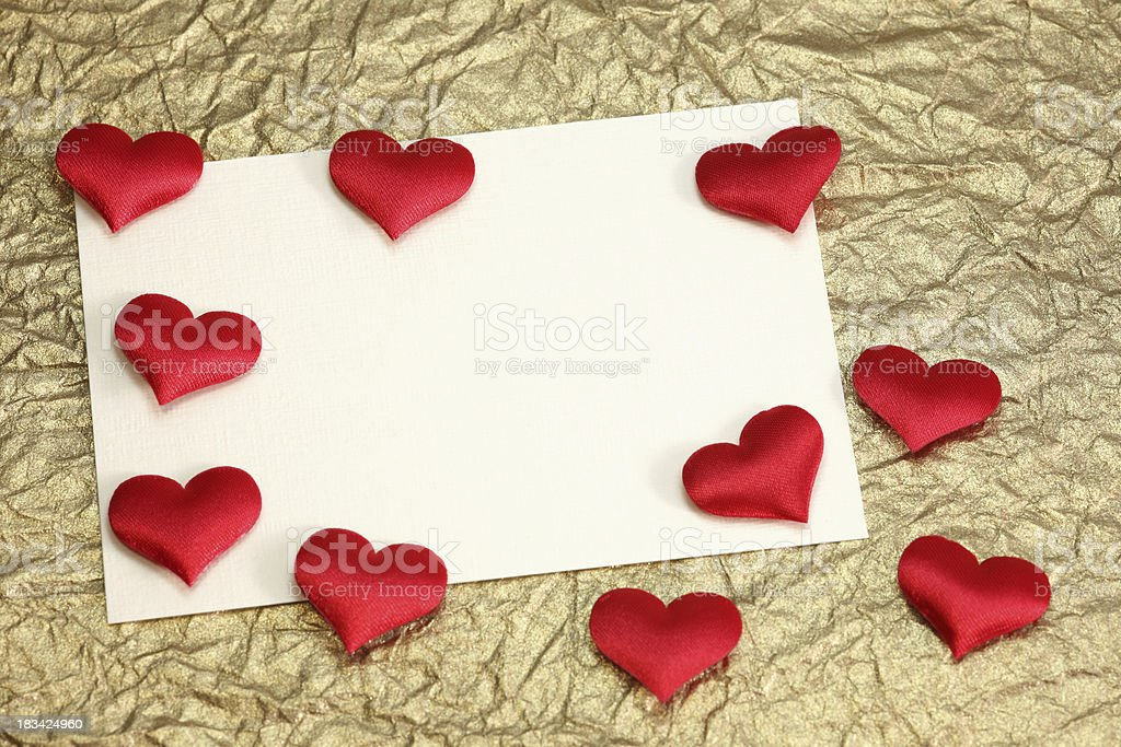 white card with space for text on gold background royalty-free stock photo