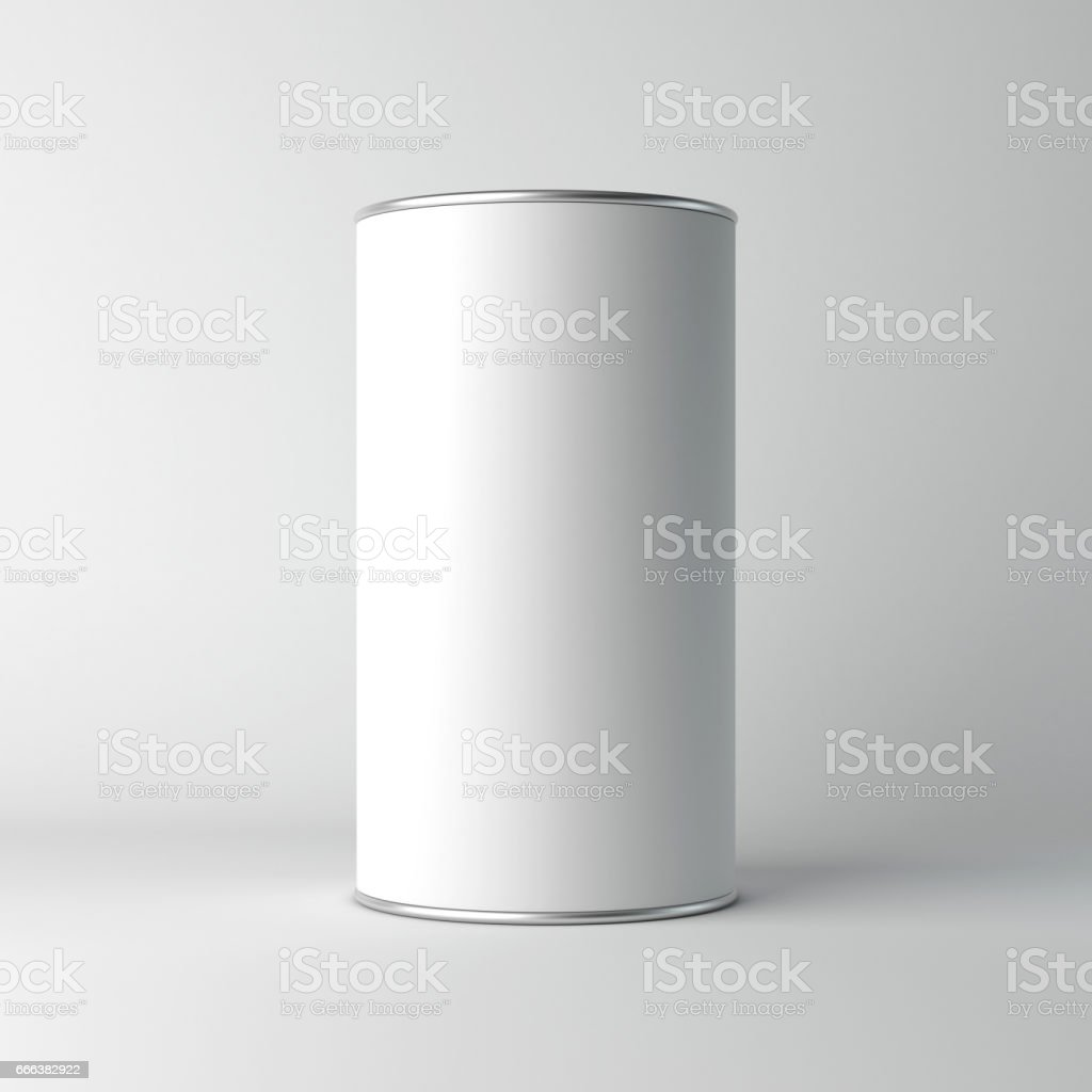 White cardboard Blank Tin can packaging mockup stock photo
