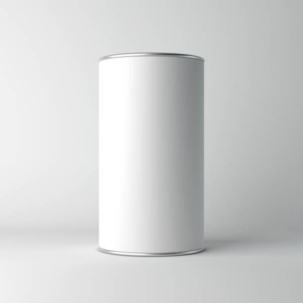 White cardboard Blank Tin can packaging mockup stock photo