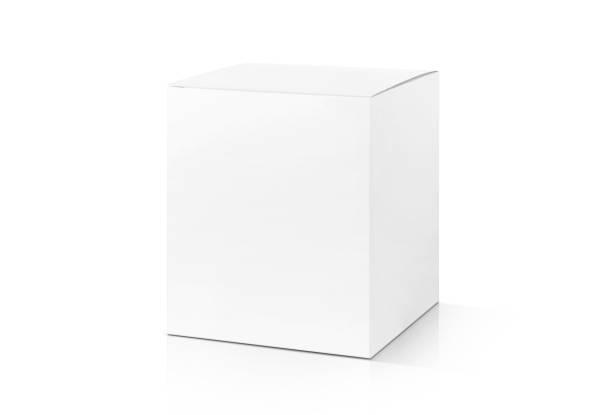 white cardboard box isolated on white background - białe tło zdjęcia i obrazy z banku zdjęć