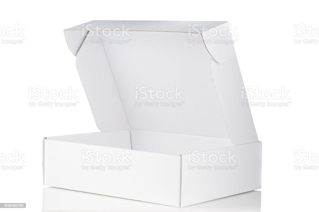White cardboard box open 3/4 view isolated on white stock photo