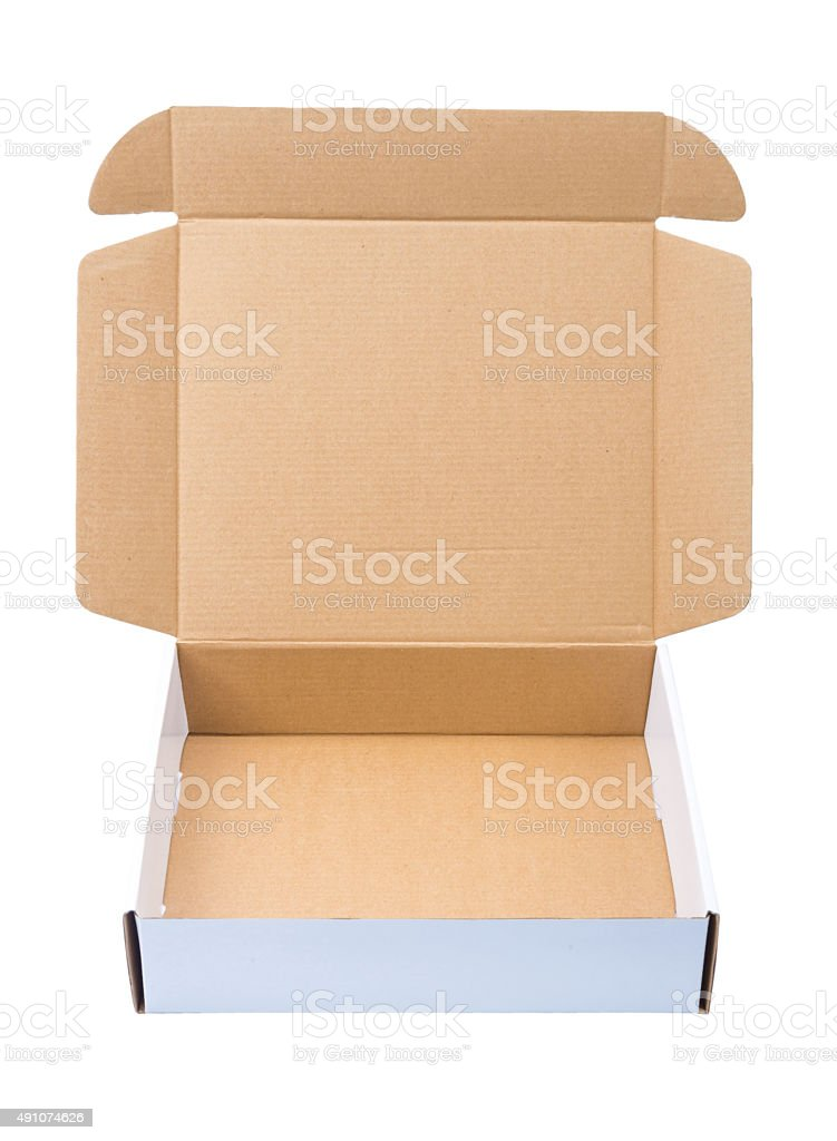 White cardboard Box or paper box isolated on White background stock photo