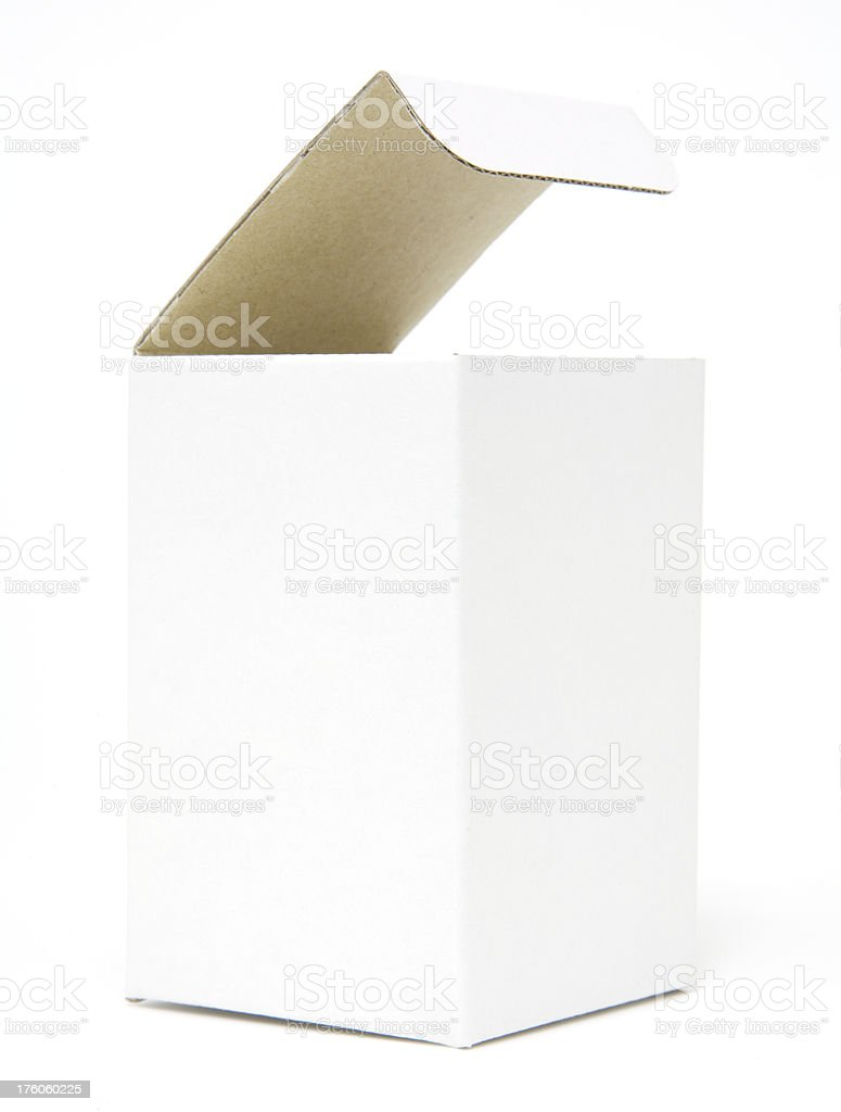 White cardboard box with open lid royalty-free stock photo