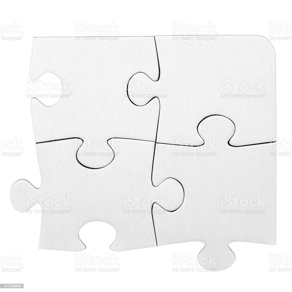 White cardboard jigsaw puzzle stock photo