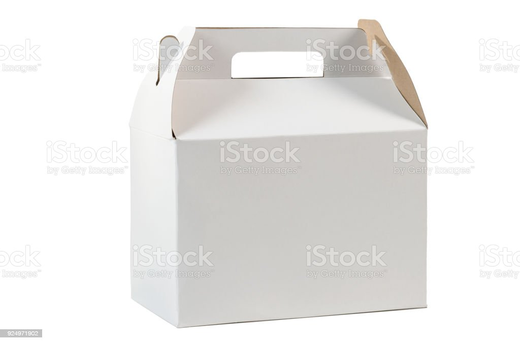White Cardboard Lunch Box stock photo